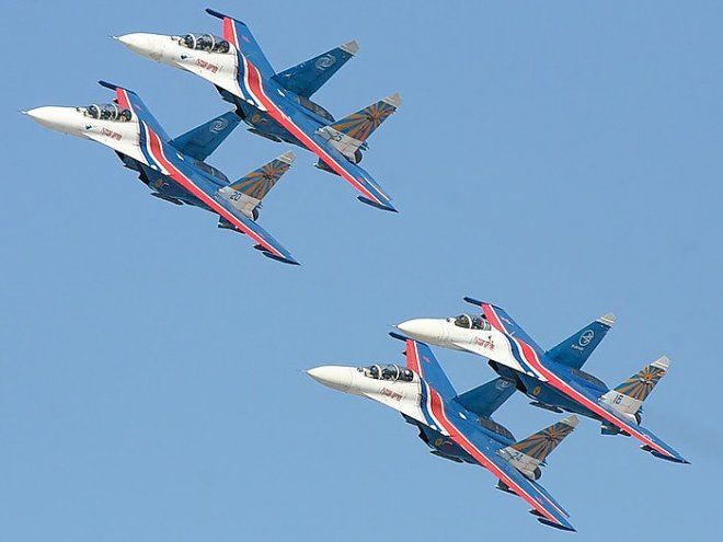 "The ""Russian Knights"" aerobatic team at the Su-27"
