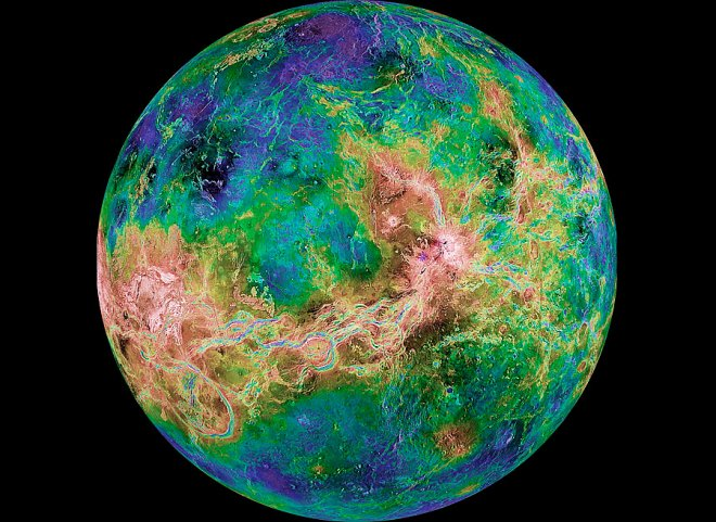 Topographic map of Venus