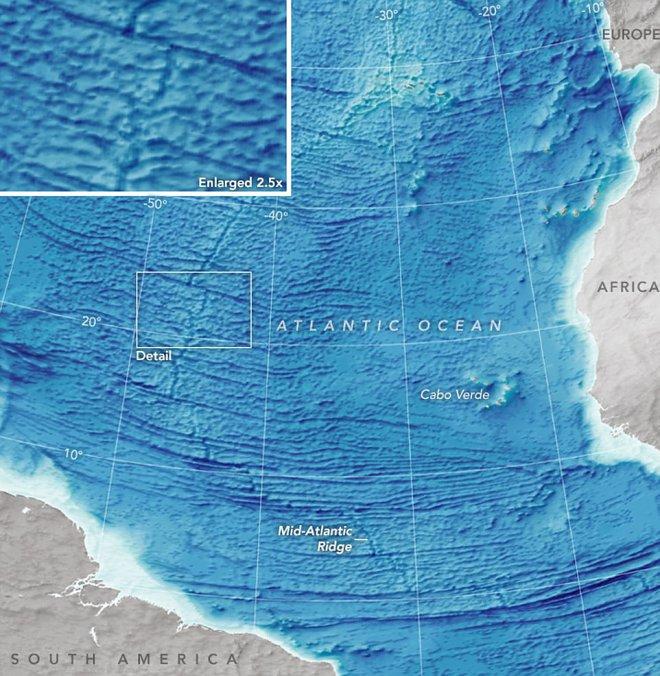 The ocean floor between Africa and South America