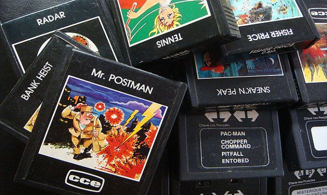 Cartridges with video games