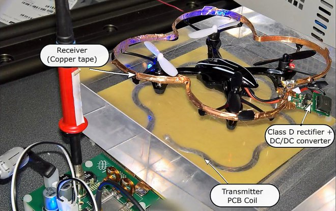 Dron with wireless charging