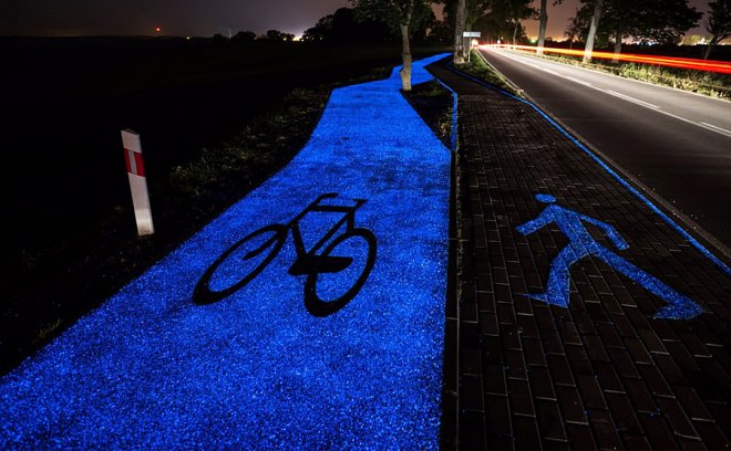Glowing bike path