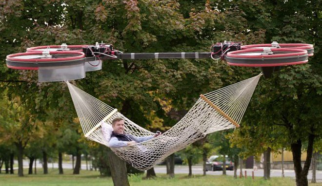 Drone for transportation of a hammock