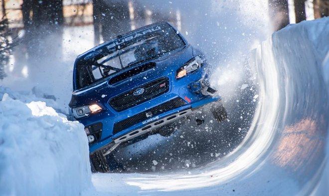 Subaru WRX on the bobsleigh track