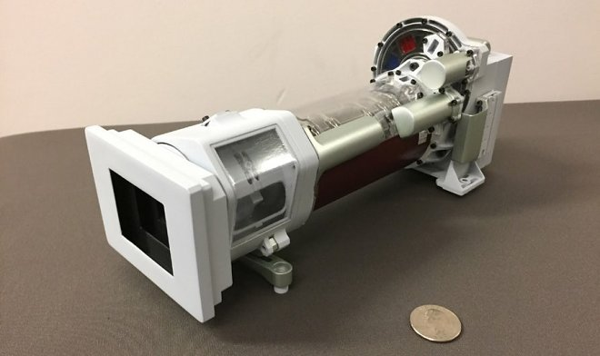 Mastcam-Z and coin for scale
