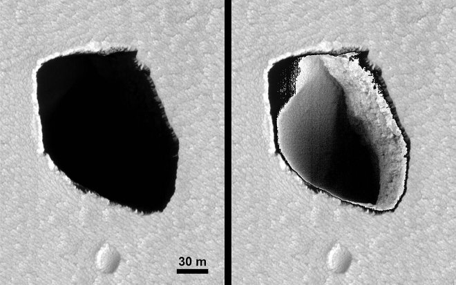Ученые НАСА обнаружили на поверхности Марса таинственный провал